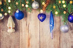 Фотографии Рождество Доски Ветвь Шар Электрическая гирлянда
