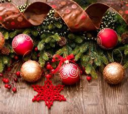 Картинка Рождество Доски Ветвь Ленточка Звездочки Шар