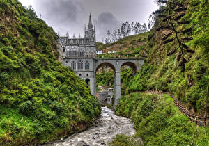 Обои Церковь Колумбия Речка Мост HDR Church of Las lahas, Guaitara river Природа