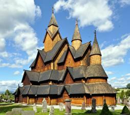Картинка Церковь Норвегия Деревянный Heddal Stave Church Города