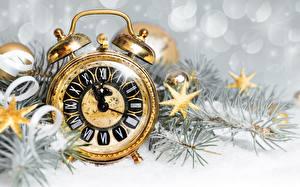Фото Часы Циферблат Будильник Рождество Звездочки
