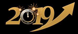 Обои Часы Циферблат Новый год Черный фон 2019