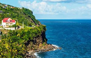 Обои Берег Здания Тропики Скала Basse-Terre Island Guadeloupe Природа