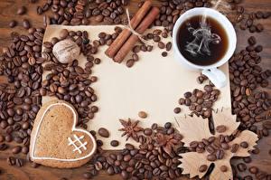 Фото Кофе Серце Чашке Зерна Продукты питания