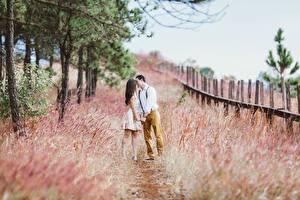 Фотография Влюбленные пары Мужчины Трава Тропа Двое Поцелуй Девушки