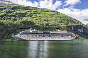 Фотографии Круизный лайнер Корабли Море Горы Норвегия Costa Favolosa, Fjord