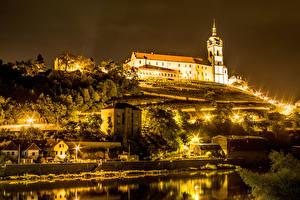 Фотографии Чехия Замки Ночь Башня Miller's Castle, town of Melnik Города