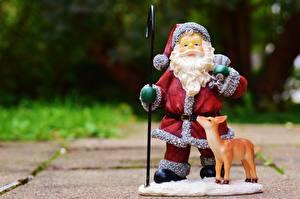 Обои Олени Новый год Санта-Клаус Шапки