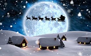 Картинка Олени Зима Здания Ночные Луны Санки Санта-Клаус Силуэты Снег