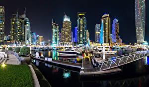 Картинки Объединённые Арабские Эмираты Дубай Дома Причалы Ночные Залив Города