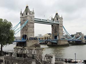 Картинки Англия Реки Мосты Лондон Tower Bridge, Thames Города