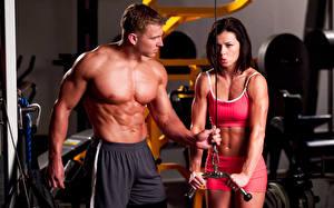 Обои для рабочего стола Фитнес Мужчины Двое Груди Живот Мускулы спортивный