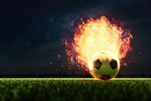 Картинка Футбол Огонь Мяч