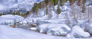 Фотография Франция Зимние Горы Снег Альпы Деревья Ручей Alpes Semana-Santa Природа