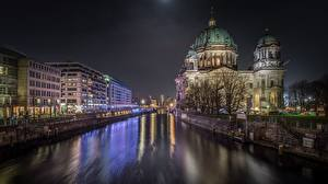 Фотография Германия Берлин Речка Водный канал Ночь Города