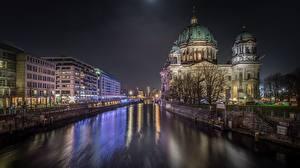 Фотография Германия Берлин Речка Водный канал Ночь Reichstag Города