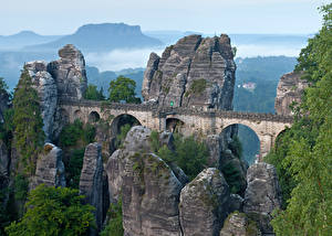Фото Германия Мост Утес Basta bridge, gorge Marterella, Saxon Switzerland Природа