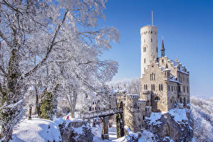 Обои Германия Замки Зимние Утес Снег Lichtenstein Castle, Hanau, Baden-Württemberg Города