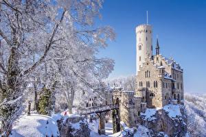 Обои Германия Замки Зима Скала Снегу Lichtenstein Castle, Hanau, Baden-Württemberg город