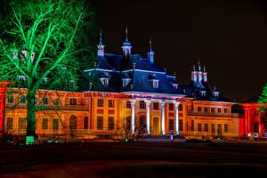 Картинки Германия Дома Дворца В ночи Дерево Schloss Pillnitz Города