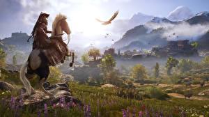Фотография Лошади Воители Гора Луга Assassin's Creed Odyssey компьютерная игра 3D_Графика Природа