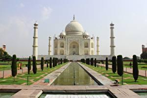 Фото Индия Мечеть Тадж-Махал Дизайн Купол Mausoleum, Agra город