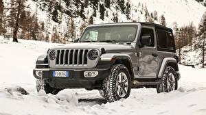 Фотографии Jeep Снег Jeep Wrangler Sahara 2019