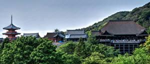 Фотография Киото Япония Горы Храмы Kiyomizu-Dera город