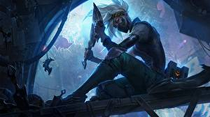 Обои League of Legends Воители Ассасин Сидит Akali Rogue Assassin Девушки