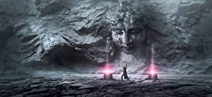 Фотографии Волшебство Чародей Камень Стенка Лицо Фэнтези 3D_Графика