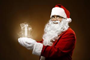 Картинки Волшебство Дед Мороз Шапка Очков Бородой Подарков
