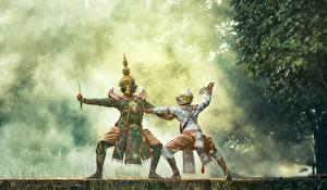 Обои Маски Азиаты Униформа Танцует Сражение 2 Туман Ребёнок
