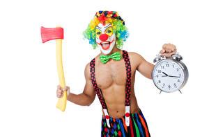 Картинки Мужчины Часы Будильник Белый фон Клоун Галстук-бабочка