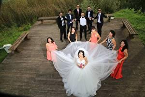 Фото Мужчины Свадьба Невесты Платья Брюнетки Счастливые Девушки