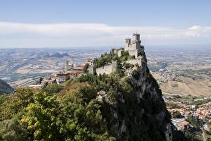 Картинка Горы Замки Утес Castle Of San Marino, Republic Of San Marino город