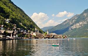 Фотографии Горы Озеро Дома Лодки Пристань Австрия Халльштатт Альпы Gmunden County Города