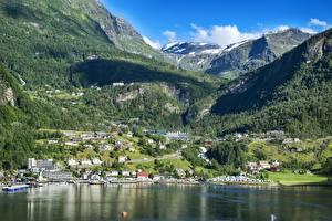 Фотография Норвегия Горы Леса Здания Пейзаж Берген Снег Bergen, North sea Города
