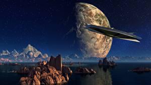 Фото Планеты Горы Космолет Утес Фантастика 3D_Графика