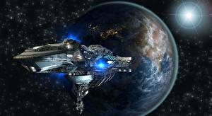 Фотографии Планеты Космолет Земля 3D_Графика