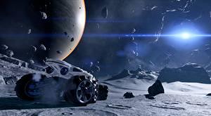 Фотографии Планеты Камень Поверхность планеты Mass Effect Andromeda Игры 3D_Графика
