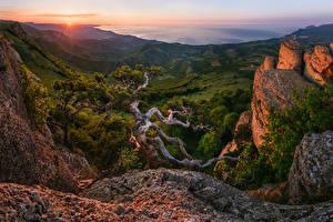Фото Россия Рассветы и закаты Горы Пейзаж Деревья Khibiny