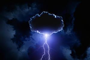 Картинка Небо Ночь Молнии Облако