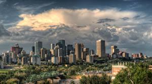 Фотографии Небоскребы Канада Тучи Edmonton, Alberta