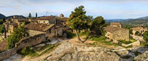 Фотографии Испания Дома Забором Дерева Ciurana de Prades Catalonia Города