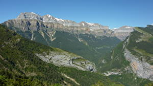 Обои Испания Горы Леса Пейзаж Утес Catalan Pyrenees, Catalonia Природа