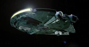 Фотографии Звездные войны Звездолёт Корабль Millennium Falcon Фильмы 3D_Графика
