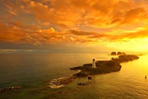Обои Рассветы и закаты Остров Маяк Небо Nassau Bahamas