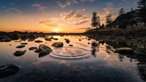 Фотографии Рассветы и закаты Камень Вода Пейзаж Деревья