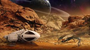 Фото Поверхность планеты Жуки Космолет Планеты Утес Фантастика