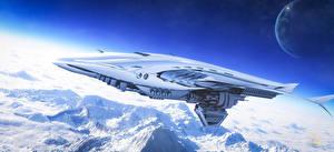 Обои Поверхность планеты Спутник Горы Звездолёт Полет Космос 3D_Графика